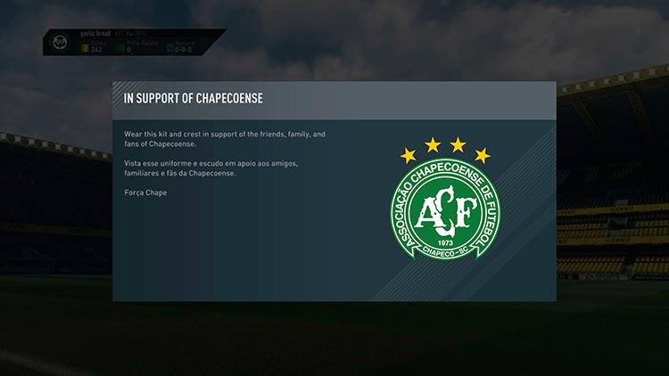 EA Sports presta homenagem a Chapecoense no FIFA 17 (Imagem: Reprodução)