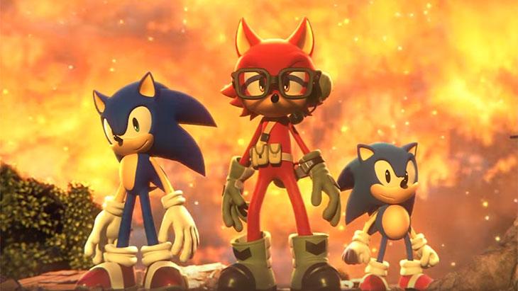Sonic clássico e moderno junto da personagem criada pelo jogador. Fonte: Sega