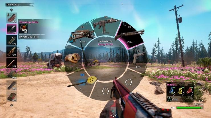 O sistema de acesso a armas e itens segue o padrão do jogo base. Tirando a pá com carinha de smile...